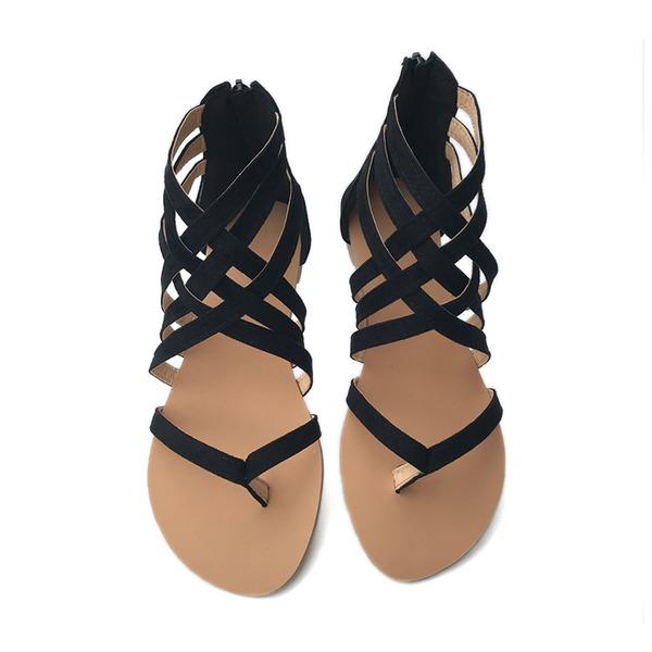 Dla kobiet Zamsz Płaski Obcas Sandały Plaskie Otwarty Nosek Buta Z Zamek błyskawiczny obuwie