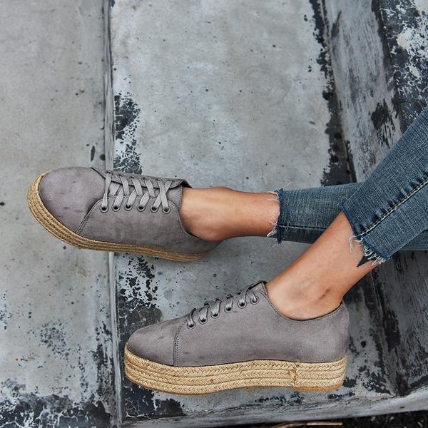 Donna Camoscio Senza tacco Ballerine con Allacciato scarpe