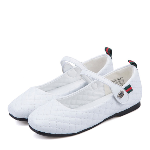 Jentas Lukket Tå Microfiber Lær flat Heel Flate sko Flower Girl Shoes med Velcro