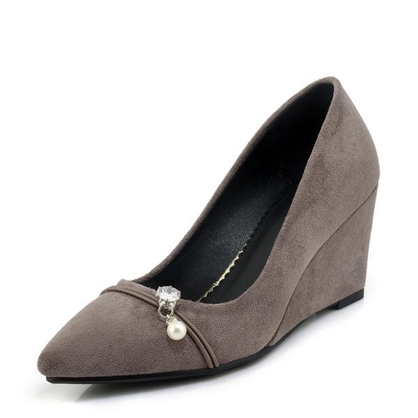 Dla kobiet Zamsz Obcas Koturnowy Czólenka Zakryte Palce Koturny Z Stras/ Krysztal Górski obuwie