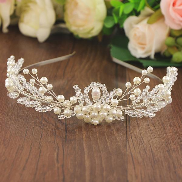 Señoras Glamorosa La perla de faux/Perlas Diademas (Se venden en una sola pieza)