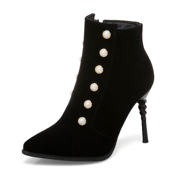 Kadın Suni deri İnce Topuk Pompalar Bot Ayak bileği Boots Ile İmitasyon İnci Fermuar ayakkabı