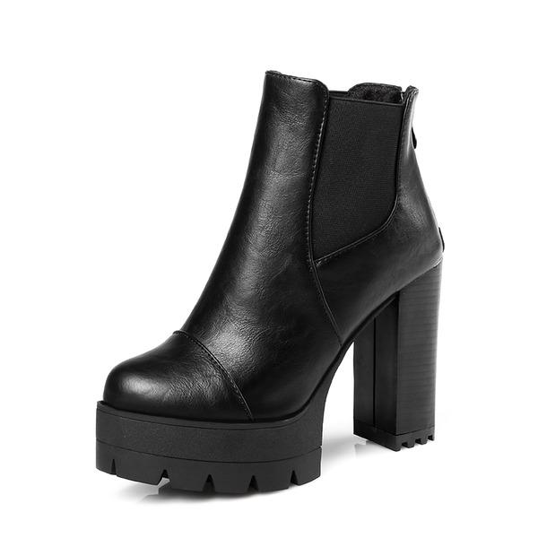 Mulheres PU Salto robusto Bombas Plataforma Botas Bota no tornozelo com Zíper Faixa Elástica sapatos