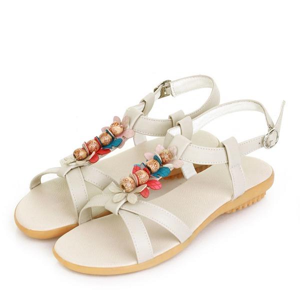 Vrouwen Kunstleer Flat Heel Sandalen Flats Peep Toe Slingbacks met Gesp Bloem schoenen