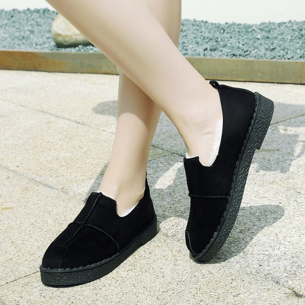 Women's Suede Flat Heel Flats Closed Toe With Others shoes
