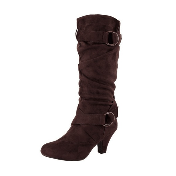Mulheres Camurça Salto baixo Botas Bota no joelho com Fivela sapatos