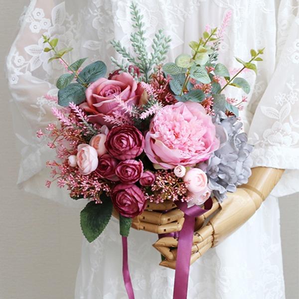 Desabrochar Forma livre Pano/Fita Buquês de noiva -