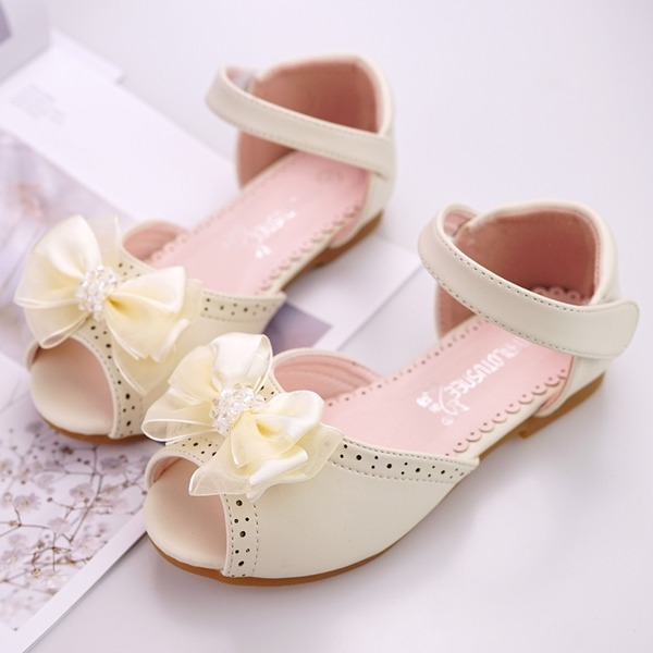 Girl's Peep Toe Ballet Flat Microfiber Leather Flat Heel Flats Flower Girl Shoes With Beading Bowknot Velcro Flower