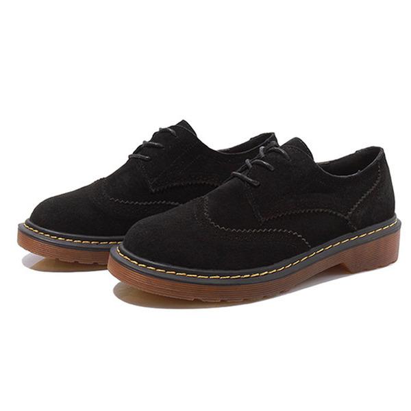 Dla kobiet Zamsz Płaski Obcas Plaskie Platforma Z Sznurowanie obuwie