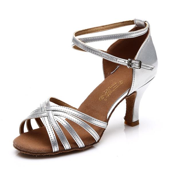 Женщины Атлас кожа На каблуках Сандалии Латино с Ремешок на щиколотке В дырочку Обувь для танцев