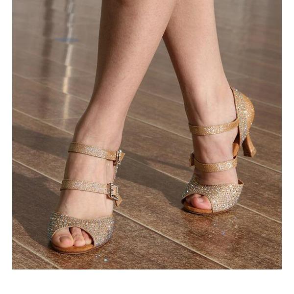 Vrouwen Sprankelende Glitter Hakken Sandalen Latijn met Strass Dansschoenen