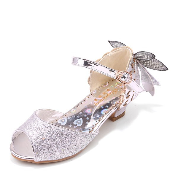 Jentas Titte Tå Leather lav Heel Pumps Flower Girl Shoes med Bowknot Spenne Glitrende Glitter