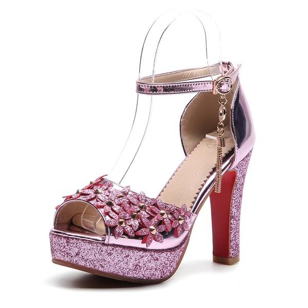 Kvinnor PVC Tjockt Häl Sandaler Pumps Plattform Peep Toe med Kedja Blomma skor