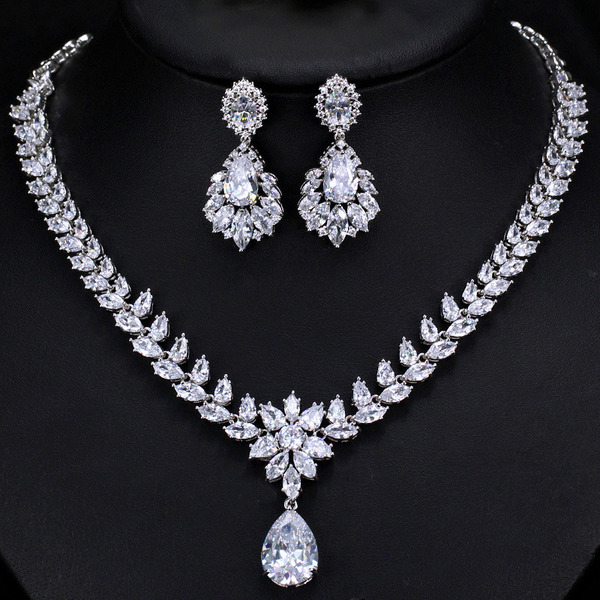 Ladies' Elegant Rhinestones/Copper Rhinestone Jewelry Sets For Bride