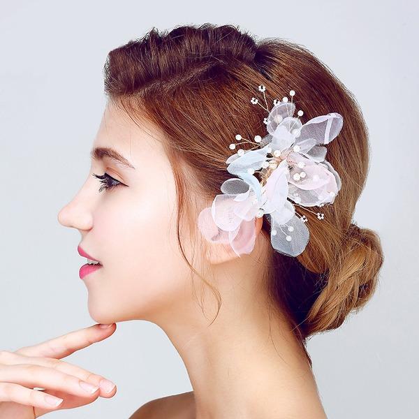 Elegante Perle d'imitazione/Fiore di seta Fiori & piume