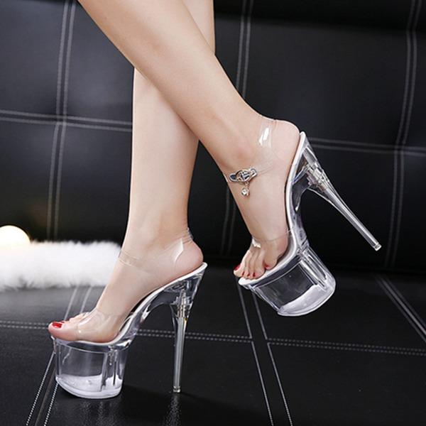 Kvinnor Tyg Stilettklack Sandaler Pumps Plattform Peep Toe Slingbacks med Spänne skor