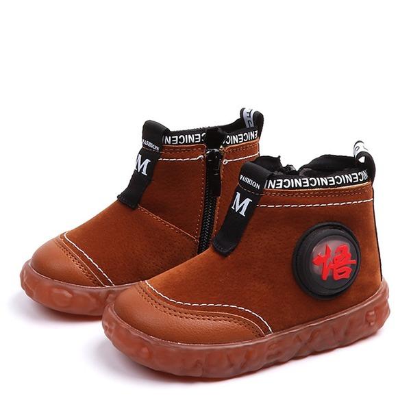 Unisex Closed Toe Leatherette Flat Heel Flats Boots With Zipper