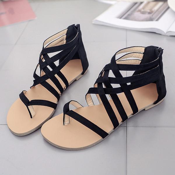 Vrouwen Suede Flat Heel Sandalen Flats Peep Toe met Rits schoenen