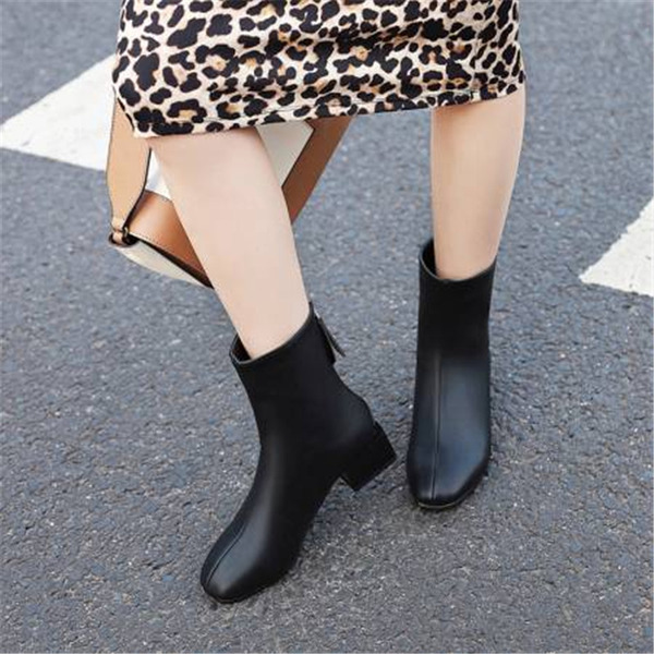 Women's Leatherette Chunky Heel Ankle Boots With Zipper shoes