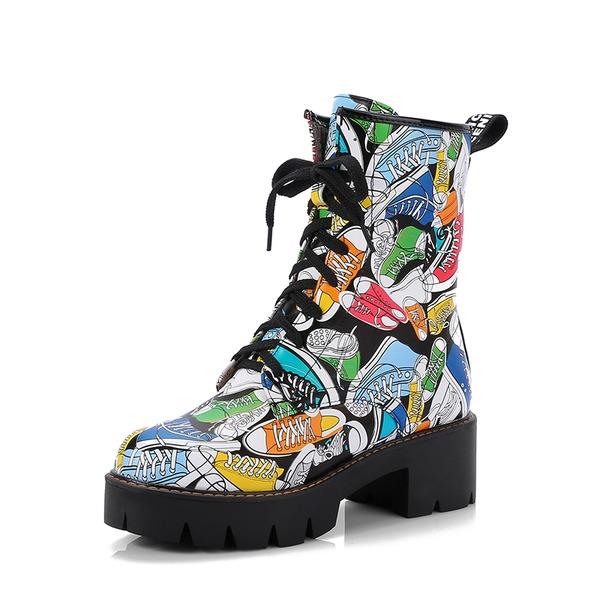 Femmes PU Talon bottier Escarpins Plateforme Bottes Bottes mi-mollets avec Dentelle chaussures