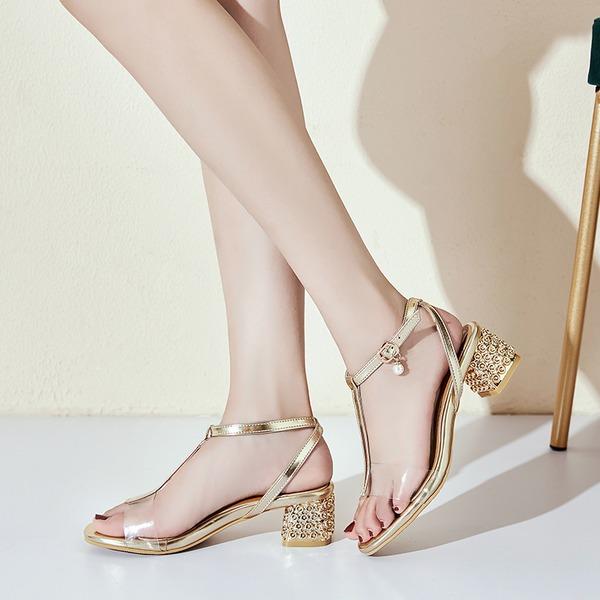 Donna PU Tacco spesso Sandalo Punta aperta con Perla imitazione Fibbia Tacchi ingioiellati scarpe