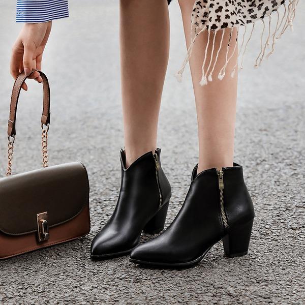 Women's PU Chunky Heel Pumps Boots أحذية