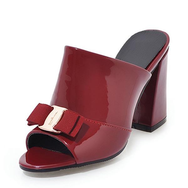 Naisten Kiiltonahka Chunky heel Sandaalit Avokkaat Peep toe Kantiohihnakengät jossa Bowknot kengät