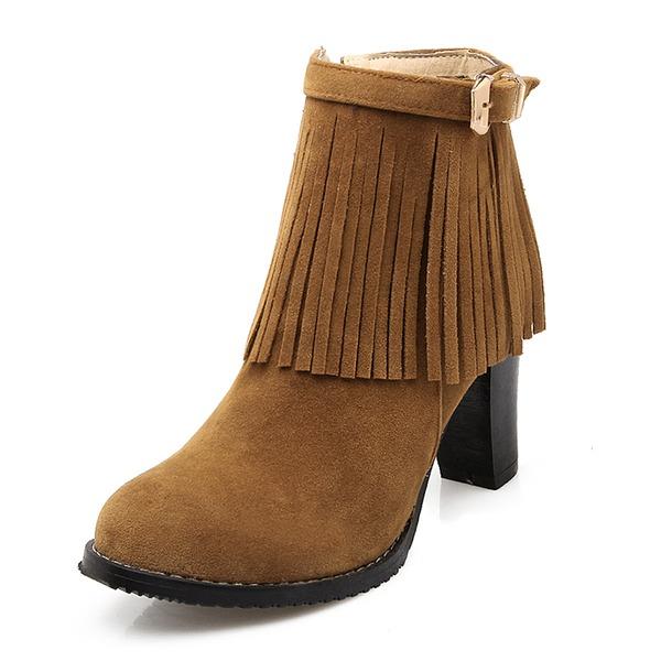 Frauen Veloursleder Stämmiger Absatz Absatzschuhe Geschlossene Zehe Stiefel Stiefelette mit Schnalle Quaste Schuhe