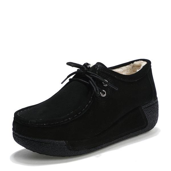 Frauen Veloursleder Keil Absatz Plateauschuh Geschlossene Zehe Keile mit Zuschnüren Schuhe