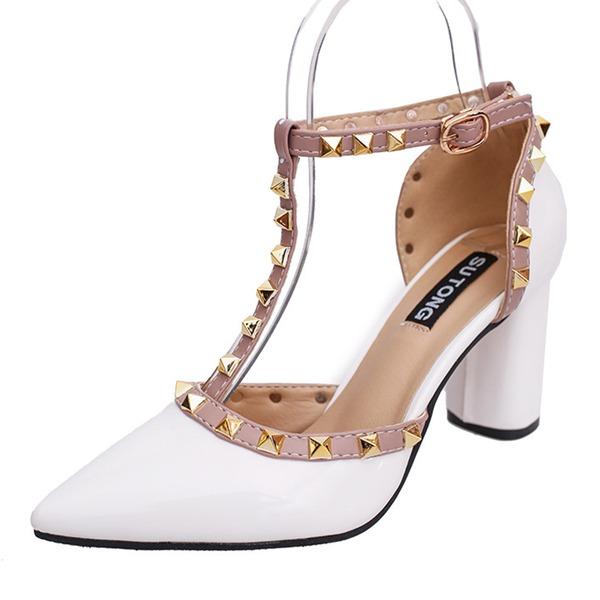 Naisten Kiiltonahka Chunky heel Avokkaat Suljettu toe jossa Niitti kengät