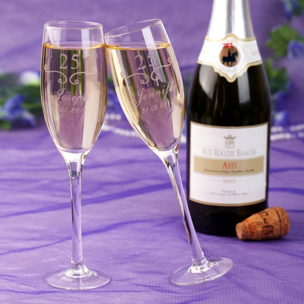 Personalized 25th Anniversary Lead-free Glass Toasting Flutes (Set Of 2)