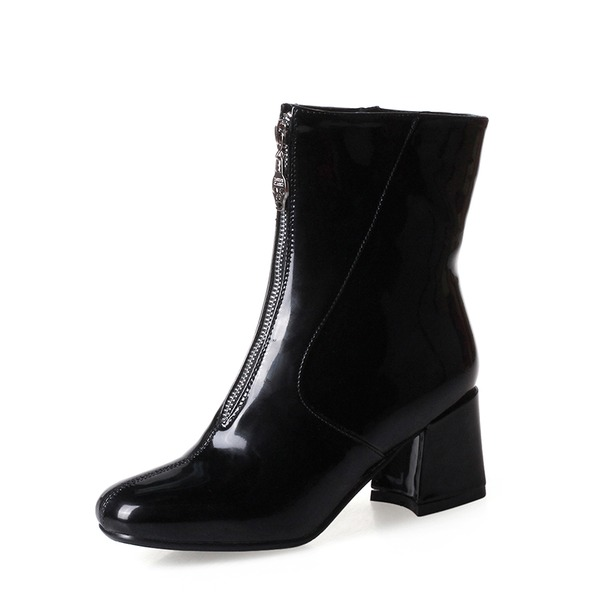 Women's Patent Leather Chunky Heel Pumps Boots Mid-Calf Boots With Zipper shoes