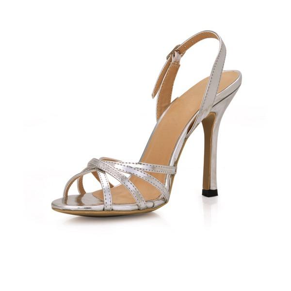 Frauen Lackleder Stöckel Absatz Sandalen Slingpumps mit Schnalle Schuhe