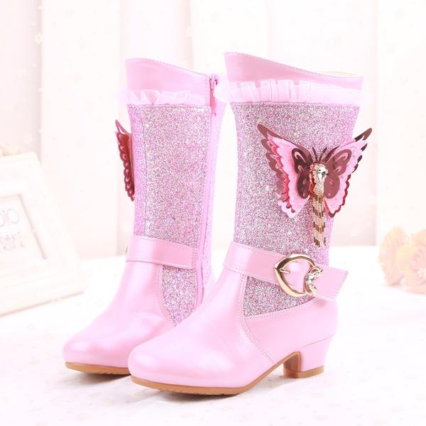 Pigens Lukket Tå Microfiber Læder lav Hæl Støvler Flower Girl Shoes med Spænde Crystal