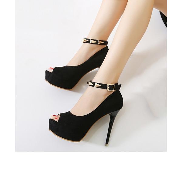 Kvinnor Mocka Stilettklack Plattform Peep Toe skor