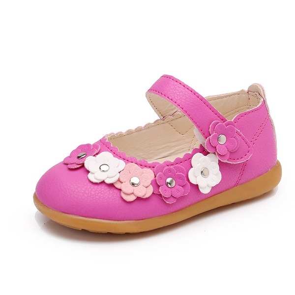 Girl's Closed Toe Leatherette Flat Heel Flats Flower Girl Shoes With Velcro Flower Rivet