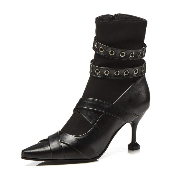 Kvinner Lær Stiletto Hæl Støvler Ankelstøvler med Spenne sko