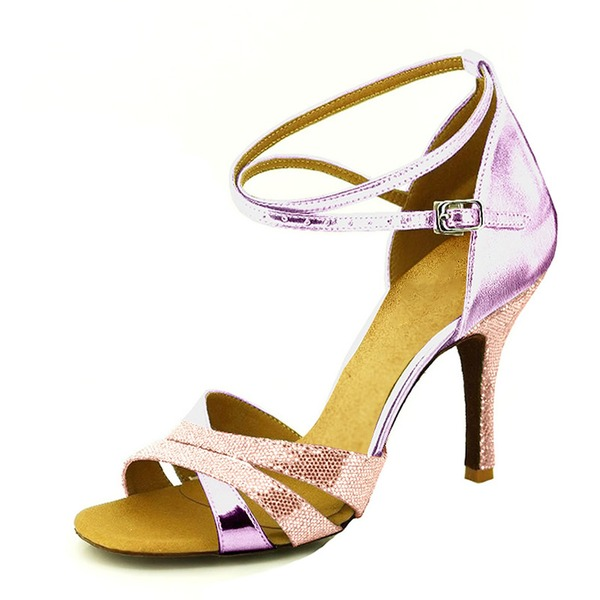 Donna Glitter scintillanti Tacchi Sandalo Stiletto Latino Scarpe da ballo