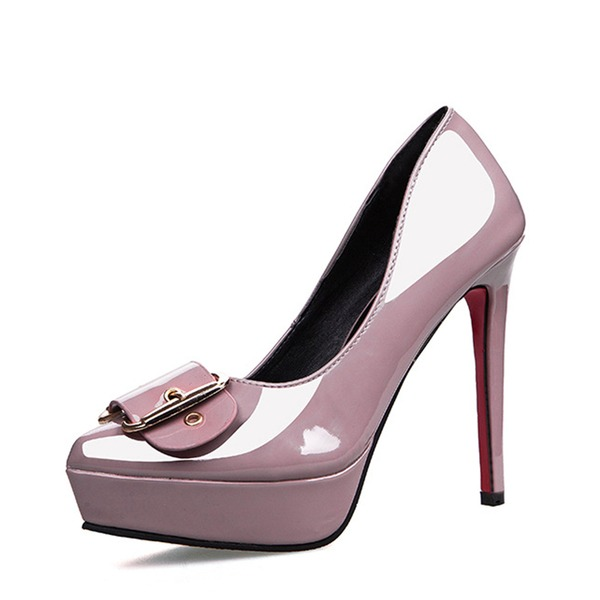 Women's Patent Leather Stiletto Heel Closed Toe Platform Pumps With Buckle