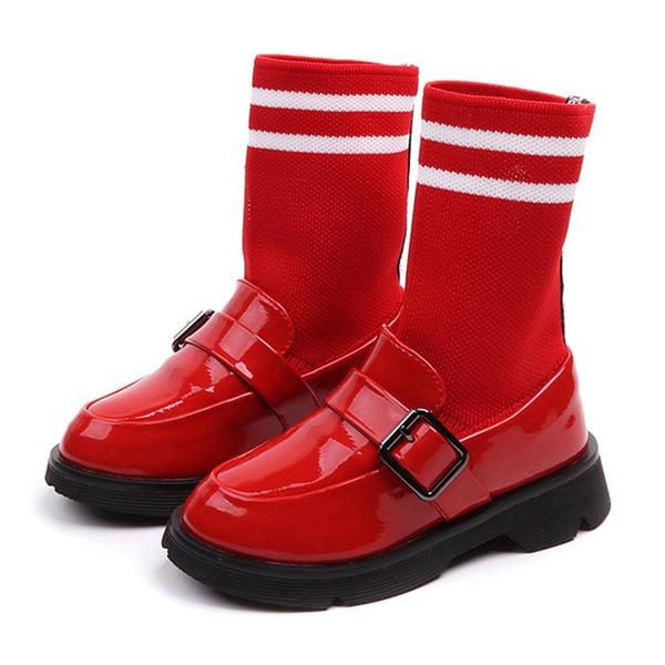 Jentas Lukket Tå Ankelstøvler Leather flat Heel Flate sko Støvler Flower Girl Shoes med Spenne
