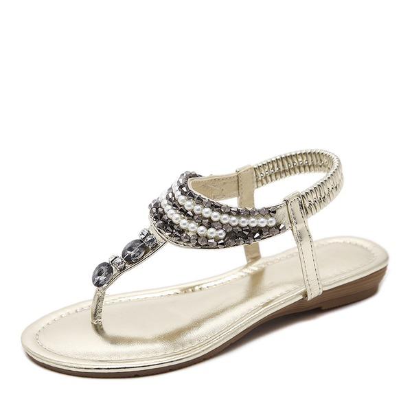 Naisten Kiiltonahka Matalakorkoiset Heel Sandaalit jossa Tekojalokivi Jäljitelmä Helmi kengät
