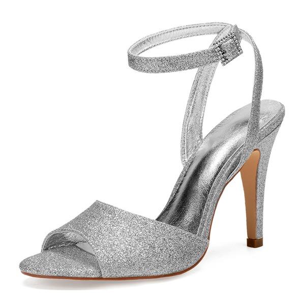 Frauen Funkelnde Glitzer Stöckel Absatz Peep-Toe Absatzschuhe Sandalen mit Strass Pailletten Funkelnde Glitzer