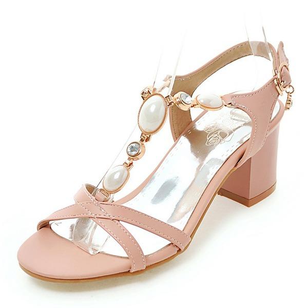Donna PU Tacco spesso Sandalo Stiletto con Perla imitazione scarpe
