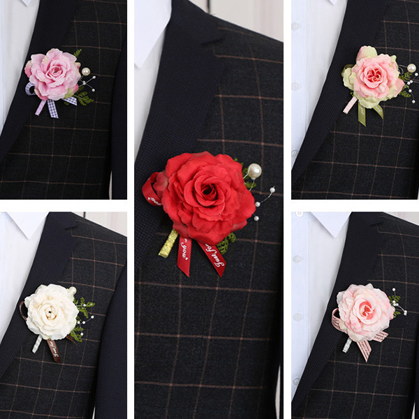 Simple And Elegant Free-Form Cloth Boutonniere (set of 5) - Boutonniere
