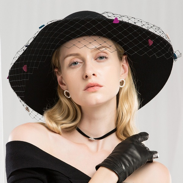Ladies' Special/Glamourous/Simple/Exquisite/High Quality/Romantic/Vintage/Artistic Wool With Tulle Floppy Hat
