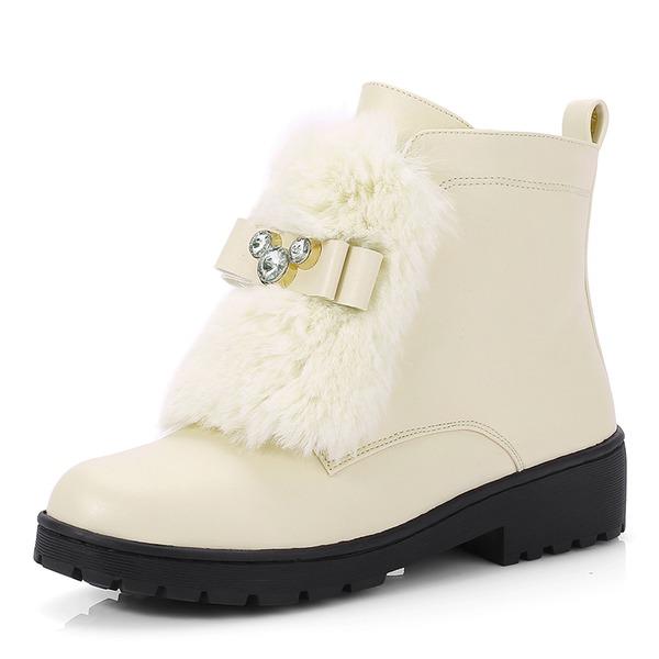 Femmes Similicuir Talon bas Bout fermé Bottes Bottines Bottes neige avec Strass Fourrure chaussures