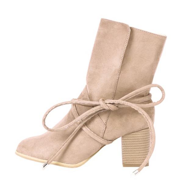 Kadın Süet Kalın Topuk Pompalar Bot Mid-Buzağı Boots Ile Bağcıklı ayakkabı
