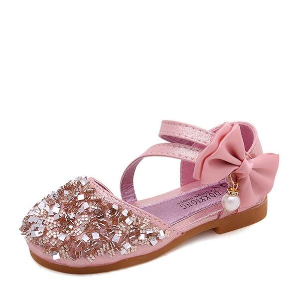 Jentas Lukket Tå Leather flat Heel Flate sko Flower Girl Shoes med Bowknot Imitert Perle Rhinestone