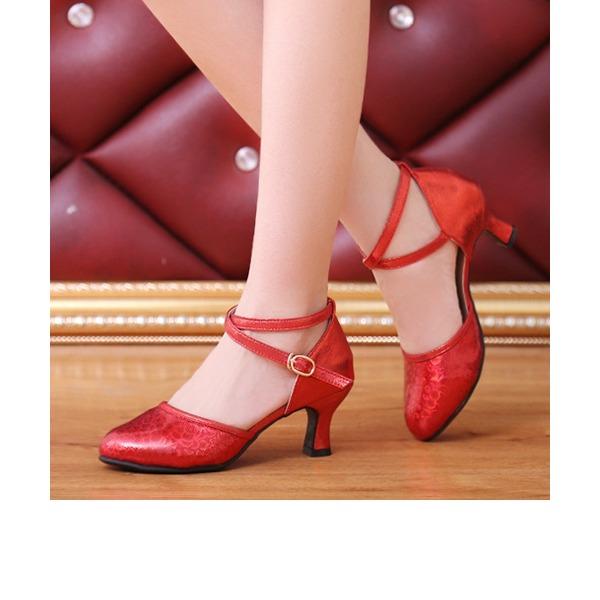 Femmes Similicuir Sandales Salle de bal avec Lanière de cheville Chaussures de danse