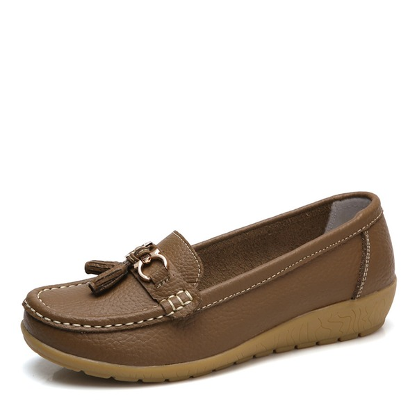 Kadın Suni deri Alçak Topuk Daireler Kapalı Toe Ile Toka ayakkabı